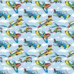 рулонные шторы в детскую самолёты вертолёты голубой